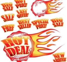 火爆销售标签 火焰 火苗 sale图片