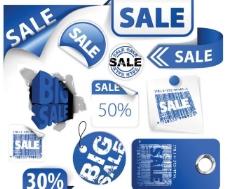 秋季蓝色销售标签 撕裂的纸图片
