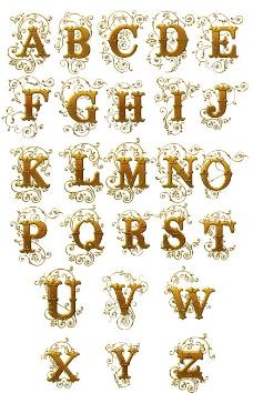 欧式花纹金色字体