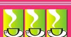 绿色 杯子 水杯 线条 抽象 无框画图片