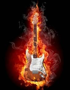 燃烧的吉他图片