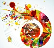 彩色动感墨迹线条 花纹 音乐符号图片