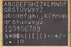 黑板與粉笔英文字母数字符号图片