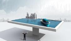 台球桌 桌面 货船 模型图片