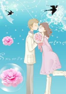 韩国卡通情侣 浪漫求爱 情人节素材图片