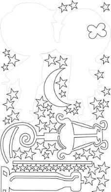 手绘花边边框简笔画星星