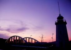 晚霞中仙洲桥图片