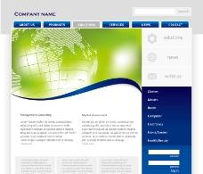 动感线条 绿色地球 网站模版图片