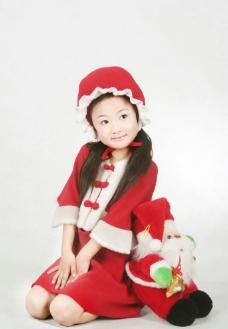 女孩和圣诞老人图片