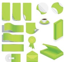绿色空白企业vi设计 勋章 茶杯 光盘图片
