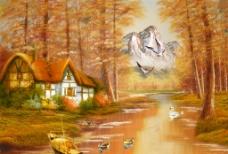 山水油画图片
