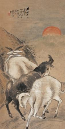 三羊开泰图轴图片