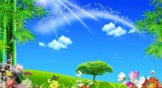 菊花 竹 风景画图片