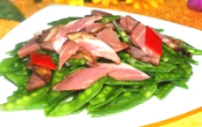 腊味荷兰豆(腊肉炒荷兰豆)图片