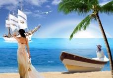 浪漫海滩海洋风光图片