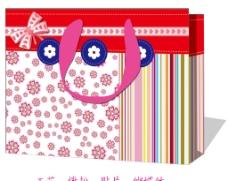 蝴蝶结小花色条纽扣礼品袋图片