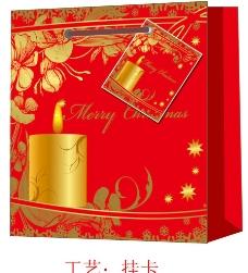 圣诞蜡烛花底纹礼品袋图片