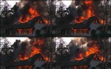 房子森林着火高清素材图片