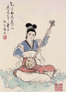 美妇弹弦乐图片