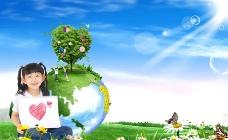 女孩 地球图片