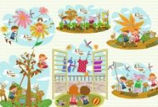 儿童与秋天插画图片