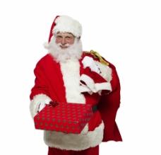 拿礼盒圣诞老人图片