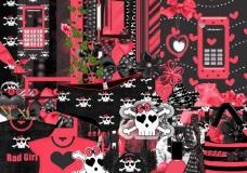 紅黑色系psd分层素材图片