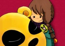 女孩与小熊图片