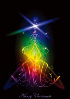 动感光线线条圣诞圣诞树图片