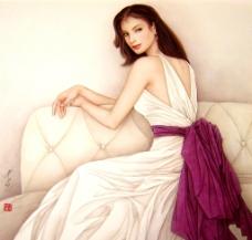 白衣丽人图片