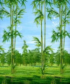 林中萃竹图片
