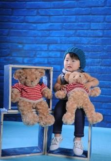 蓝色系的可爱宝宝图片