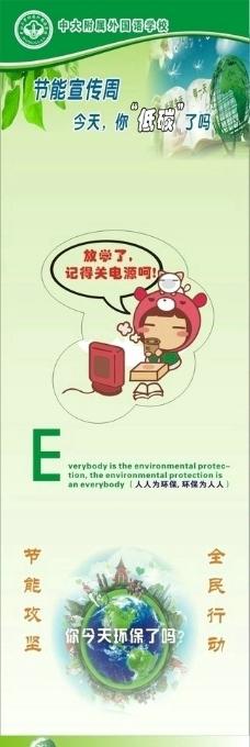 绿色环保英语标识宣传图图片