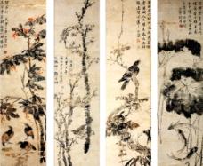 四条屏 花鸟图片