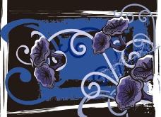 线条墨迹油墨梦幻花纹 花朵图片