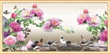 鸽子牡丹花