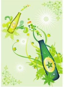 饮料 酒瓶  花纹