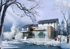 别墅雪景广告效果图图片